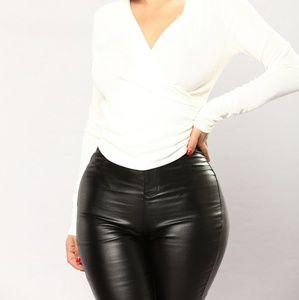 Fashion Nova Ivory love letter surplice shirt